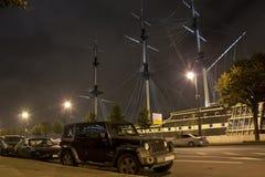 Jeep Wrangler, Petrovskaya-Damm, St Petersburg Lizenzfreies Stockfoto