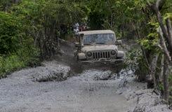 Jeep wrangler run in mud Stock Photo