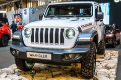 Jeep Wrangler Rubicon de cuarta generación, JL, vehículo campo a través del tracción cuatro ruedas manufacturado por el jeep foto de archivo libre de regalías