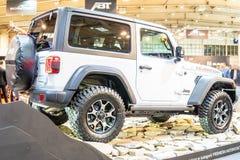 Jeep Wrangler Rubicon de cuarta generaci?n, JL, veh?culo campo a trav?s del tracci?n cuatro ruedas manufacturado por el jeep imagen de archivo