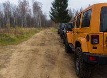 Jeep Wrangler Rubicon. Offroad expedition by jeep Wrangler in the Leningrad region, the Jeep Wrangler is a compact four wheel drive off road and sport utility stock photography