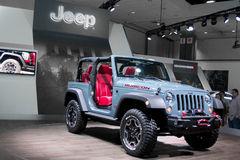 2013 Jeep Wrangler Rubicon 10th Anniversary Edition. Arctic Ice Blue Stock Photos