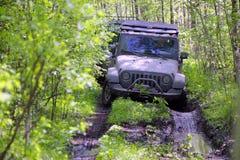 Jeep wrangler in Rusland Royalty-vrije Stock Afbeelding