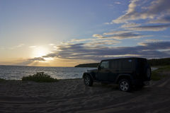 Jeep Wrangler at sunset Stock Images