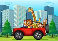 A jeepney with animals. Illustration of a jeepney with animals royalty free illustration
