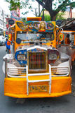 Jeepney parking on street in Manila, Philippines. Stock Image