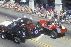 Jeeps in 4 de Parade van Juli, Ojai, Californië Stock Afbeelding