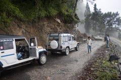 Jeeps de Stucked debido a derrumbamiento Imagen de archivo libre de regalías