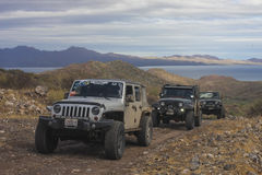 Jeeps on the road. Roadtrip 2017, Baja California Sur Stock Photography