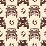 Jeeps seamless pattern design - vintage seamless texture with cars Stock Photos