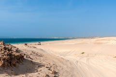 Jeeptour in the dunes of Morro d´Areia, Boavista, Kapverden with. Views of Praia da Chaves and Praia Carlota royalty free stock photo