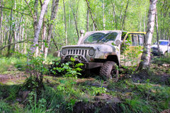 Jeepwrangler i Ryssland Royaltyfri Foto