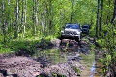 Jeepwrangler i Ryssland Arkivfoto