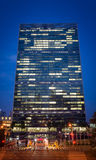 Jefaturas de la O.N.U New York City en el crepúsculo foto de archivo libre de regalías