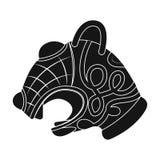 Jefe animal del icono de la nave de vikingo s en estilo negro aislado en el fondo blanco Ejemplo del vector de la acción del símb Fotos de archivo