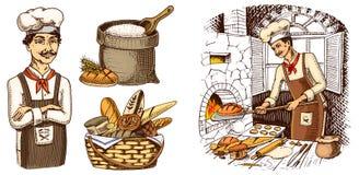 Jefe culinario, cocina del cocinero, panadero en delantal Bolso con la harina o la cesta mano grabada dibujada en viejo estilo de stock de ilustración