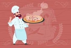 Jefe de la historieta de Holding Pizza Smiling del cocinero del cocinero en el uniforme blanco del restaurante sobre fondo textur stock de ilustración