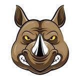 Jefe de la mascota de un rinoceronte ilustración del vector