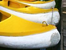 Jefe de los barcos amarillos del kajak Imagen de archivo libre de regalías