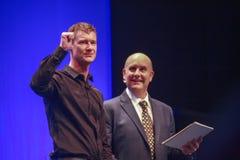 Jefe de SAP de productos y de la tecnología Bjorn Goerke de la innovación (dejado) Foto de archivo libre de regalías