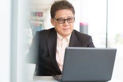 Jefe del CEO que usa Internet con el ordenador portátil imagen de archivo libre de regalías