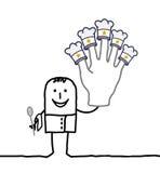 Jefe del cocinero con la mano grande y las estrellas Imágenes de archivo libres de regalías