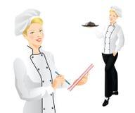 Jefe del cocinero de la mujer Imagenes de archivo