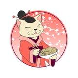 Jefe del gato de la historieta de Kawaii con los tallarines ramen y palillos Barra de los mariscos del sushi o plantilla del logo stock de ilustración