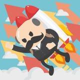 Jefe del hombre de negocios que vuela apagado con illustrati plano del vector del paquete del jet Foto de archivo