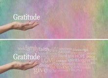 Jefe del sitio web de la nube de la palabra de la actitud de la gratitud fotos de archivo libres de regalías