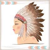 Jefe indio del nativo americano del vector Imagen de archivo