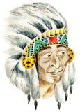 Jefe indio rojo stock de ilustración