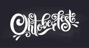 Jefe manuscrito de las letras de Oktoberfest Logotipo de la tiza del diseño del vector del título de la tipografía de Oktoberfest ilustración del vector