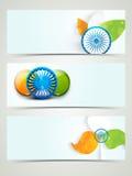 Jefe o bandera del web para el ce indio de la república y del Día de la Independencia Imagen de archivo libre de regalías