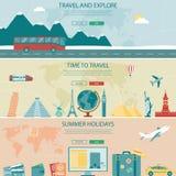 Jefes del viaje y del turismo, banderas Plantillas del sitio web del concepto Vector ilustración del vector