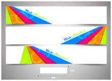 Jefes del web con la dimensión exacta, sistema de banderas ilustración del vector