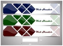 Jefes del web con la dimensión exacta, sistema de banderas stock de ilustración