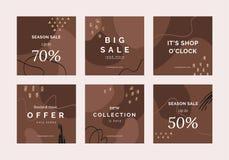 Jefes o banderas creativos de la venta con la oferta del descuento para los apps móviles de los medios sociales libre illustration