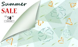 Jefes o banderas creativos del fondo de la venta del verano con oferta del descuento Carteles del arte Dise?o para la liquidaci?n stock de ilustración