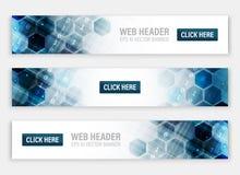 Jefes o banderas del web con el modelo hexagonal abstracto stock de ilustración