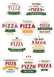 Jefes sabrosos y letreros de la pizza fijados libre illustration