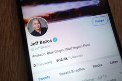 Jeff Bezos Twitter account displayed on a modern smartphone. KONSKIE, POLAND - SEPTEMBER 07, 2018: Jeff Bezos Twitter account displayed on a modern smartphone royalty free stock photo