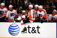 Jeff Carter Philadelphia Flyers. Philadelphia Flyers forward Jeff Carter gets ready to take a shift on the ice Royalty Free Stock Image
