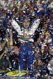 NASCAR Driver Jeff Gordon. Jeff Gordon celebrates winning the NASCAR Nextel Cup Pepsi 400, at Daytona International Speedway in Daytona Beach, Florida, on July 3 royalty free stock image