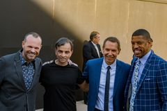 Jeff Koons Kevin Johnson y Vivek Ranadive 6 Fotos de archivo libres de regalías