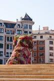 Jeff Koons Puppy-beeldhouwwerk, Guggenheim, Bilbao Royalty-vrije Stock Foto's
