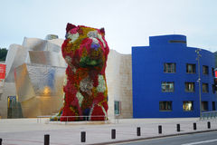 The Jeff Koons  Puppy in Guggenheim  Bilbao. The Jeff Koons 'Puppy' flowers sculpture outside the Guggenheim  Museums in Bilbao, Spain, Basque Country Royalty Free Stock Photography