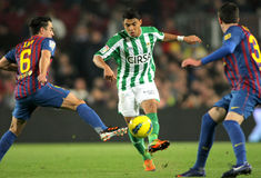Jeff Montero of Real Betis. In action during the Spanish league match against Fc Barcelona at the Camp Nou stadium on January 15, 2012 in Barcelona, Spain royalty free stock photos