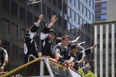 Jeff Schultz, Tyler Toffoli e Martin Jones e Tanner Pearson a re 2014 Stanley Cup Victory Parade, Los Angeles, Califor della LA Fotografia Stock Libera da Diritti