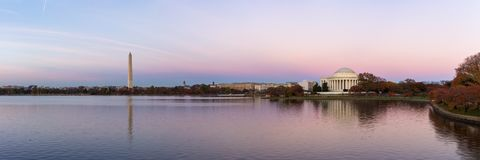 Jeffeerson Memorial and Washington Monument reflected on Tidal Basin. stock photos